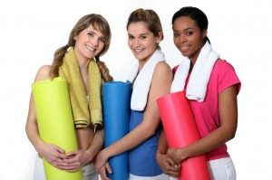 self care girls with yoga mats