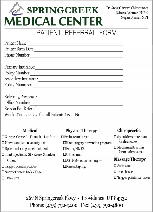 referral form springcreek medical center
